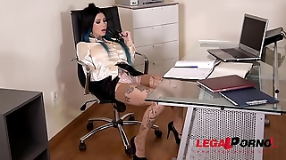Tattooed Megan Inky Dominates Her Boss During Extreme Double Penetration GP057