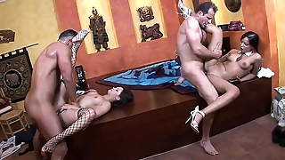 Lucky guys with huge cock gets to fuck two skivvies sluts in high heels Jenny Baby and Angel Pink