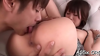 Asian sweethearts with butt plugs charm fortunate stud'_s hard rod